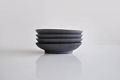 しのぎ楕円皿(小) 黒 久野靖史